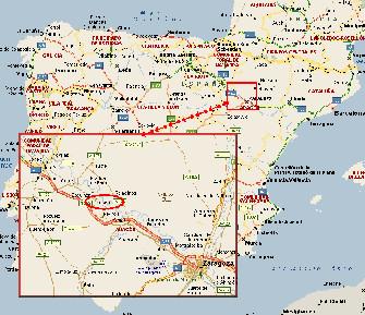 Plano reducido de localización de Luceni