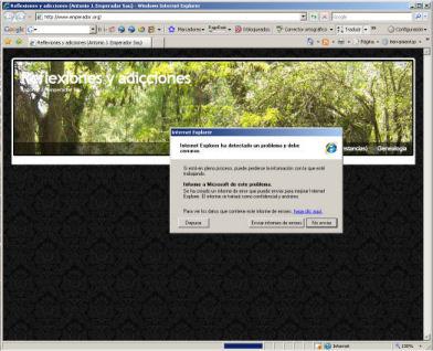Petada de IE al entrar en mi sitio web
